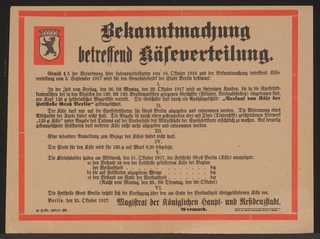 Maßnahmen zur Lebensmittelversorgung - Käseverteilung - Bekanntmachung - Berlin