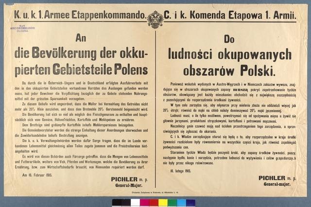 Maßnahmen zur Lebensmittelversorgung - Olkusz - Mehrsprachiges Plakat
