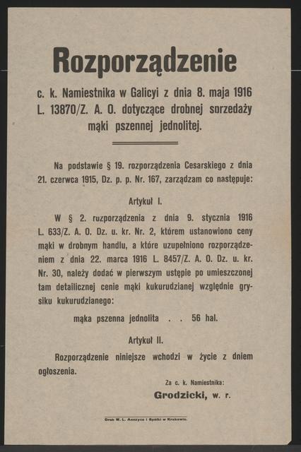 Mehlpreise für Einzelnandel - Verordnung - Krakau - In polnischer Sprache