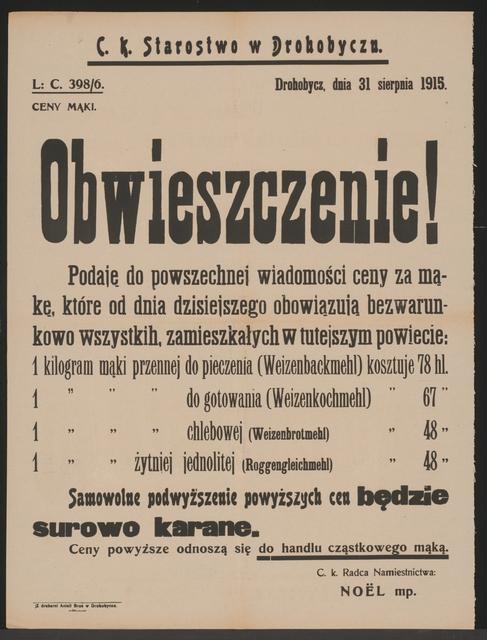 Mehlpreise - Kundmachung - Drohobycz - In polnischer Sprache