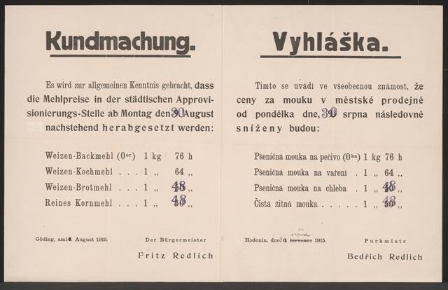 Mehlpreise - Kundmachung - Göding - Mehrsprachiges Plakat