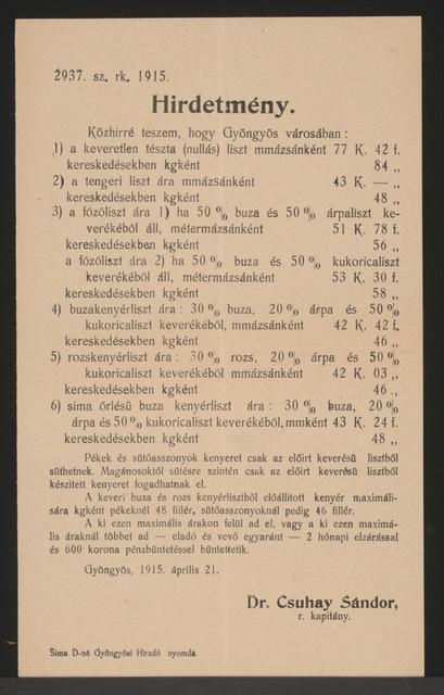 Mehlpreise - Kundmachung - Gyöngyös - In ungarischer Sprache