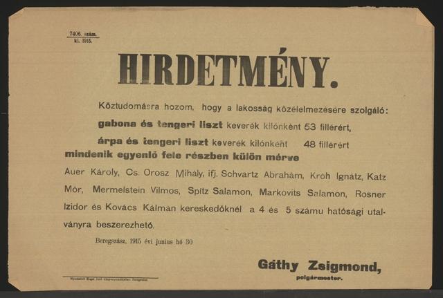Mehlpreise - Lampertshaus - In ungarischer Sprache
