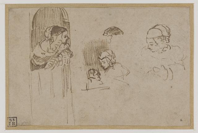 Meisje leunend over onderdeur en schetsen van haar hoofd