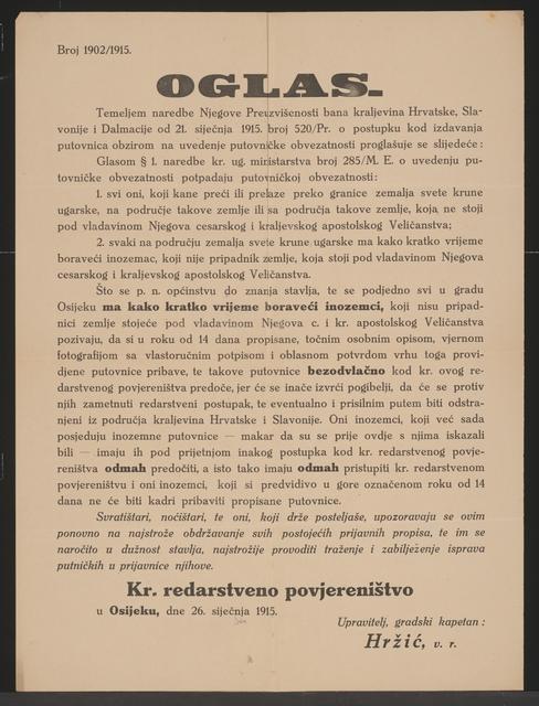 Meldepflicht und Passbestimmungen - Bekanntmachung - Osijek - In kroatischer Sprache