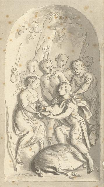 Meleager brengt Atalante het hoofd van het Calydonische zwijn