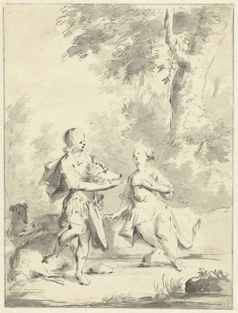 Meleager geeft Atalante de kop van het Calydonische everzwijn