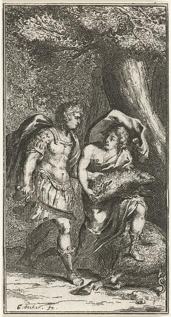 Meleager geeft kop van zwijn aan Atalanta