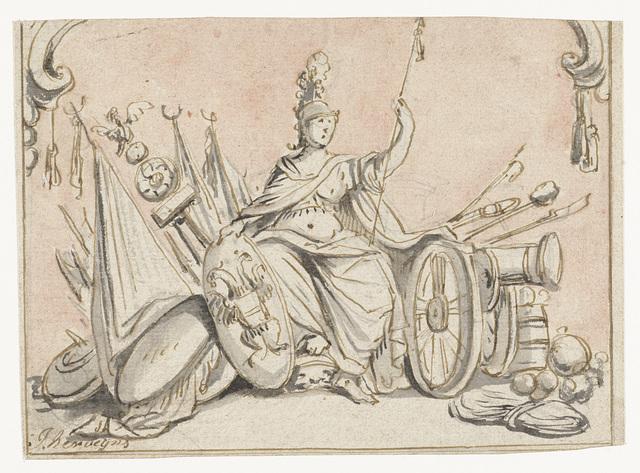 Minerva te midden van krijgsattributen