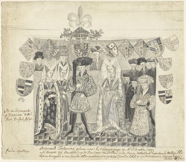 Miniatuur met Filips de Goede en zijn gemalinnen, de graaf van Charlerois en anderen