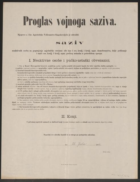Mobilmachung Heer und Landsturm - Bosnien und Herzegowina - Kundmachung - In kroatischer Sprache