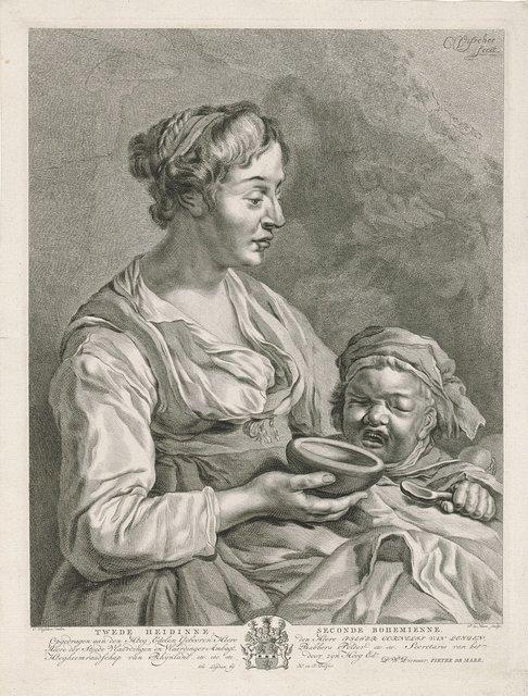 Moeder geeft haar kind te eten