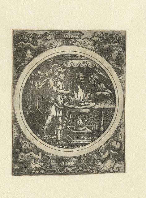 Mucius Scaevola met zijn rechterhand in het vuur