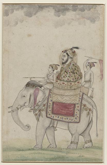 Mughal prins zittend op een olifant