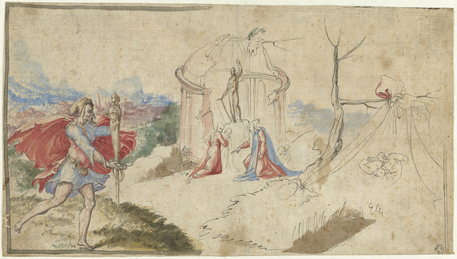 Mythologische scène (Aeneas ontvlucht Troje?)