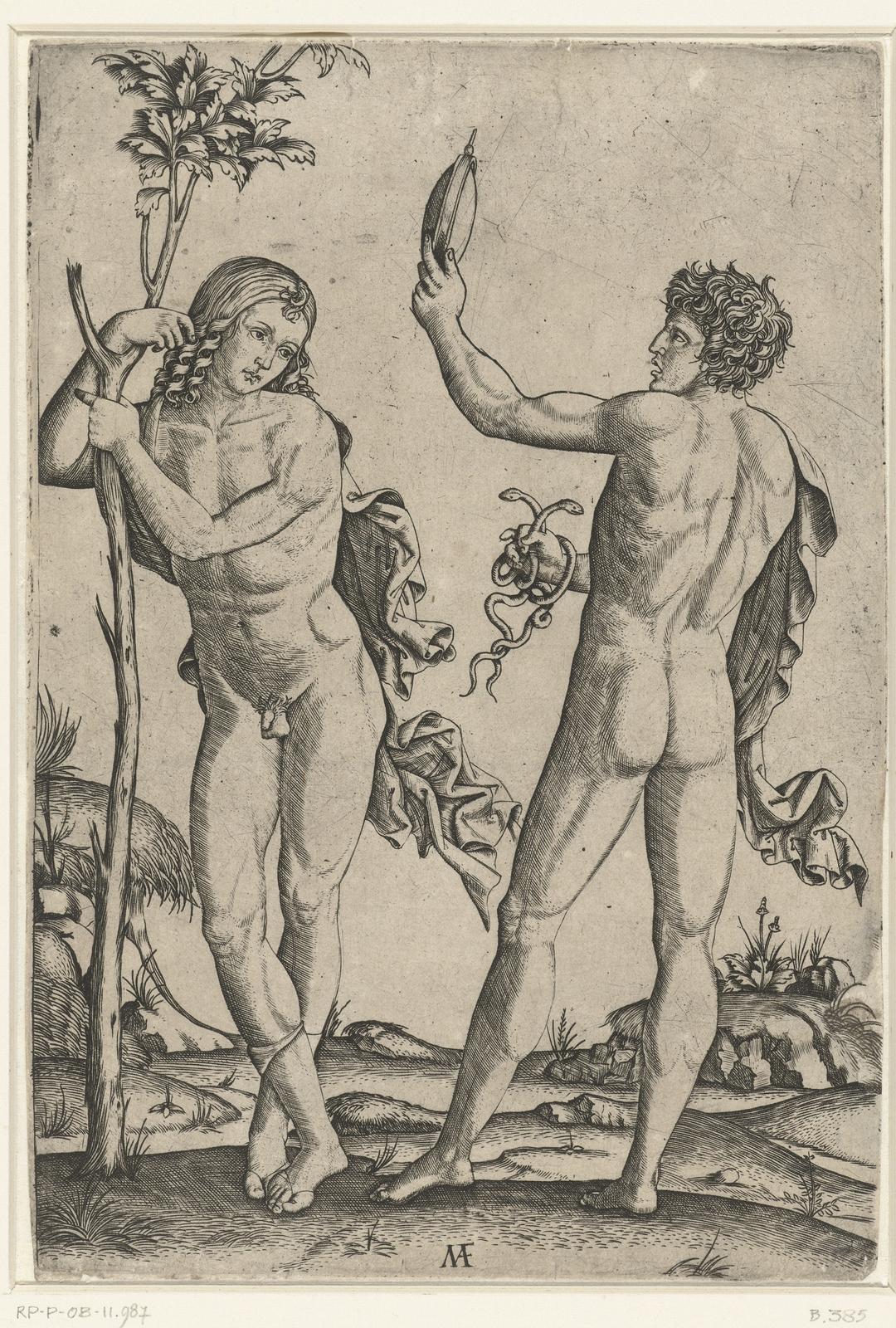 Naakte man leunend tegen boom en naakte man met spiegel en twee slangen
