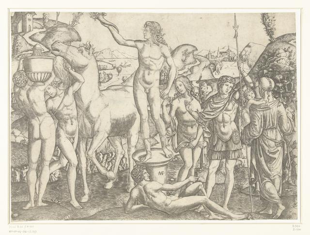 Naakte man met fakkel staat op sokkel omringd door naakte mannen met paard en vaas en soldaat geflankeerd door deugden Voorzichtigheid en Liefde