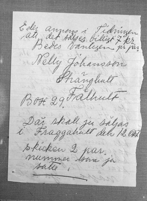 Nelly Johanssons brev till KF