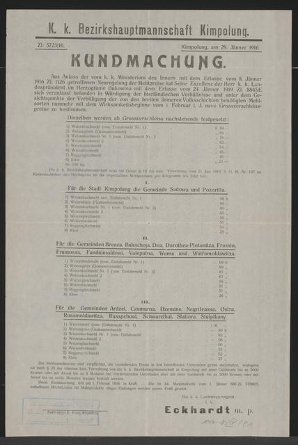 Neuregelung der Mehlpreise für das Herzogtum Bukowina - Kundmachung - Kimpolung