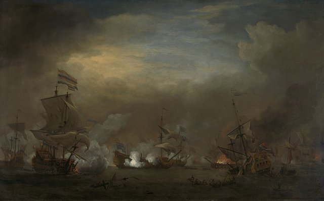 """""""Nocturnal Sea Battle between Cornelis Tromp on the """"""""Gouden Leeuw"""""""" and Sir Edward Spragg on the """"""""Royal Prince"""""""" during the Battle at Kijkduin (Battle of Texel), 21 August 1673: episode from the Third Anglo-Dutch War"""""""