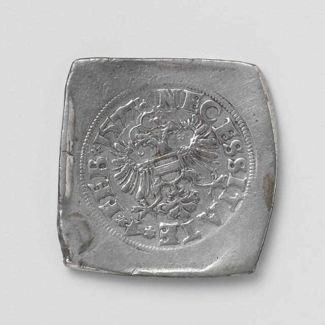 Noodmunt van een halve koningsdaalder van Beleg van Groningen, geslagen ter betaling van achterstallige soldij aan het garnizoen