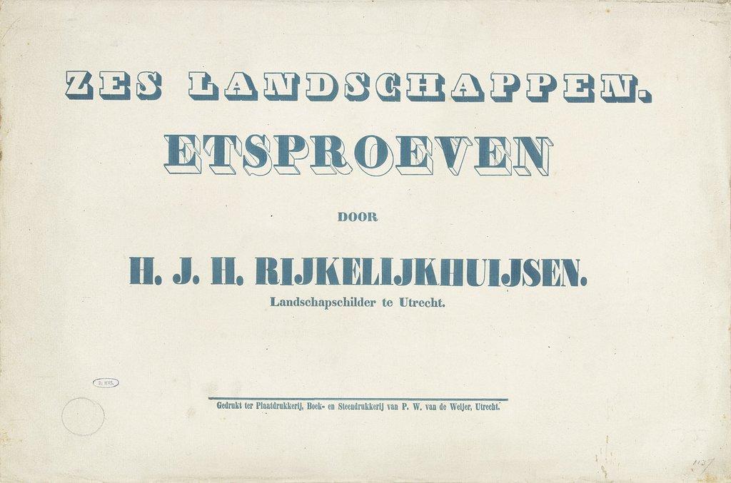 Omslag voor een prentserie door Hermanus Jan Hendrik van Rijkelijkhuijsen met zes landschappen