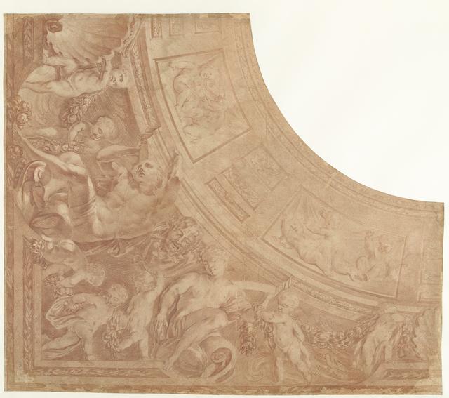 Ontwerp voor een hoekstuk van een plafond met zittende figuren, putti en buste van een sater