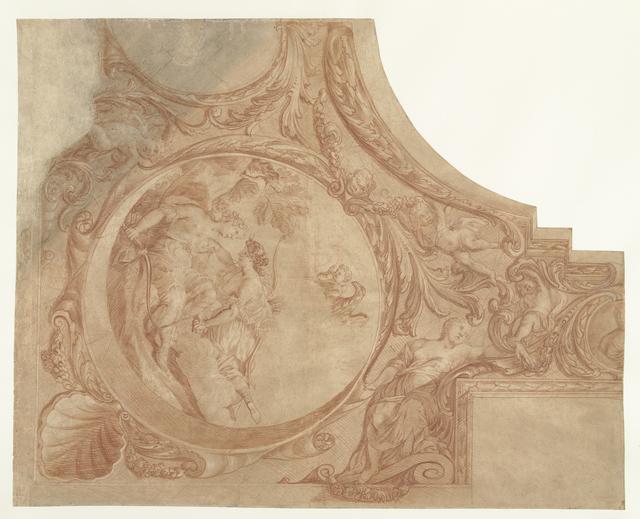 Ontwerp voor een hoekstuk van plafond met Jupiter als Diana met Callisto