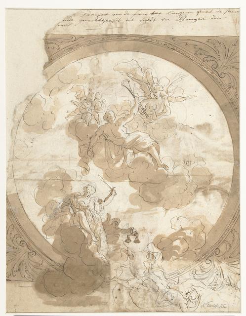 Ontwerp voor een plafond met een allegorische voorstelling met Fama en Justitia