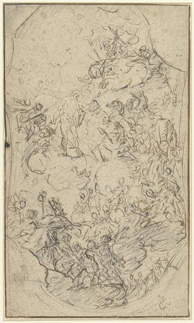 Ontwerp voor een plafondschildering met Christus in de hemel tussen heiligen
