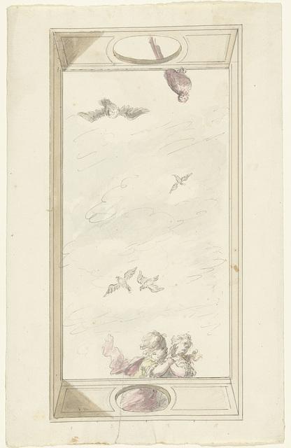 Ontwerp voor een plafondschildering met een balustrade met putti en vogels