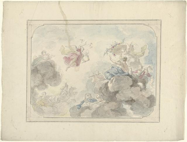 Ontwerp voor een plafondschildering met gezicht in de hemel waar Aurora Duisternis verdrijft