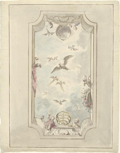 Ontwerp voor een plafondschildering met gezicht langs balustrade in de lucht met vogels
