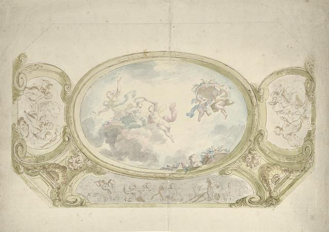 Ontwerp voor een plafondschildering: ovaal met allegorische voorstelling, omringd door scènes met putti