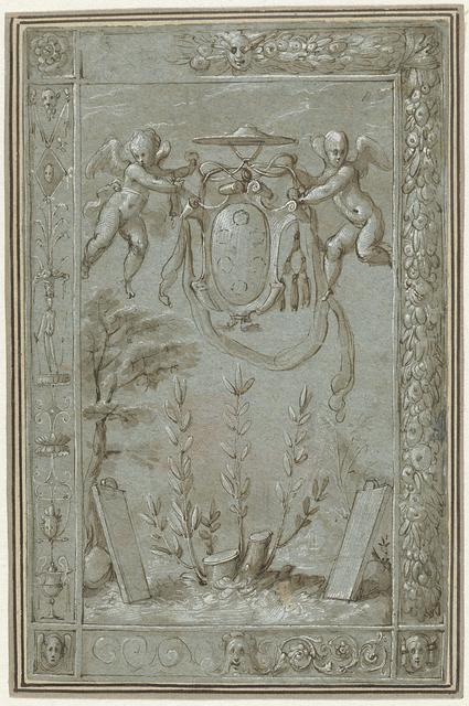 Ontwerp voor een tapisserie met het wapen van kardinaal Ippolito de Medici