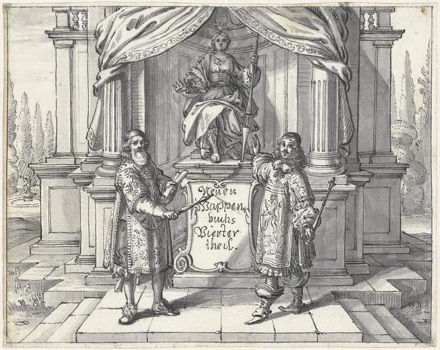 Ontwerp voor het frontispiece van Dess neuen Teutschen Wappenbuchs Vierter Teil