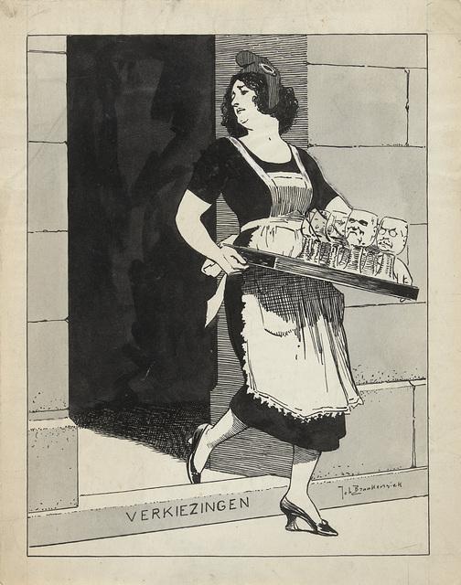 Ontwerp voor illustratie in De Amsterdammer: De Nederlandse Maagd als dienstmeid met een blad glazen struikelt over het afstapje Verkiezingen (17 Mei 1924)