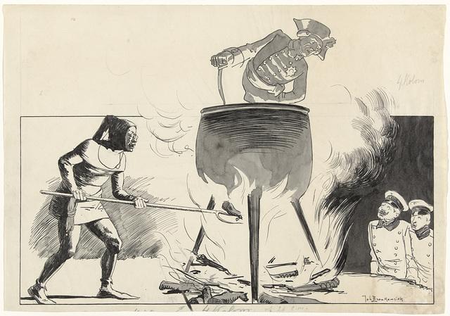Ontwerp voor illustratie in De Amsterdammer: een man in een ketel met stoker en toekijkers (1 Juni 1918)