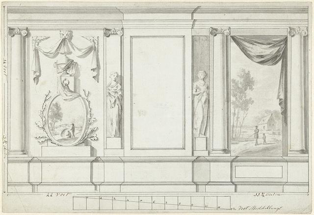 Ontwerp voor kamerversiering met twee panelen met landschappen geflankeerd door een standbeeld van een vrouw