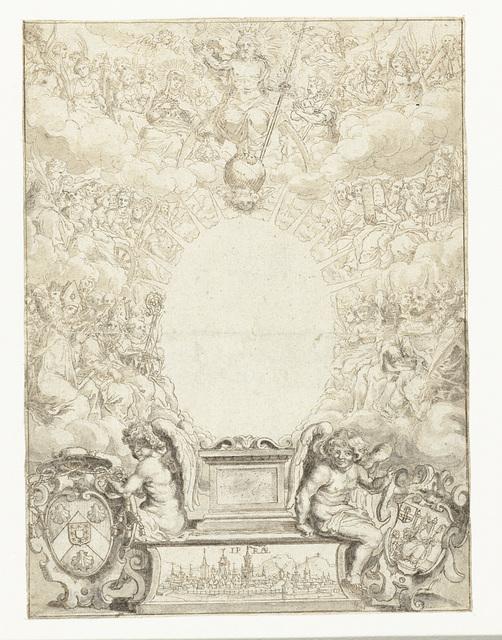 Ontwerp voor titelblad met Christus omringd door figuren