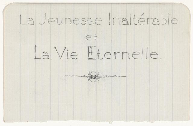 Ontwerp voor titelblad van La Jeunesse Inaltérable et La Vie Eternelle