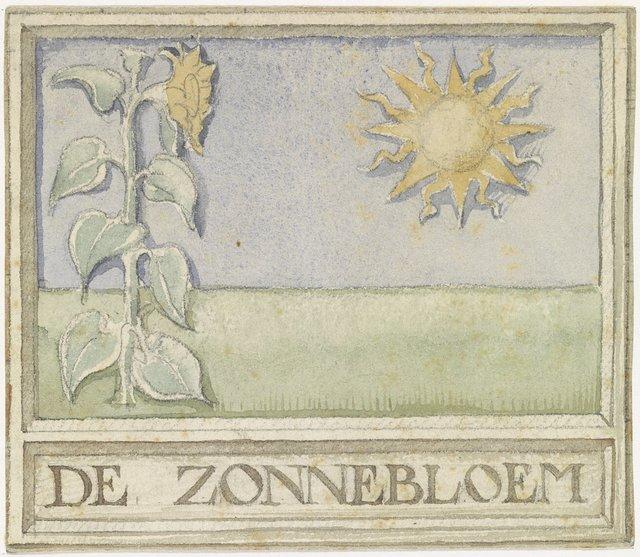 Ontwerp voor vignet met zonnebloem en zon