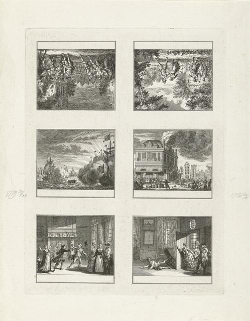 Onversneden vel met zes voorstellingen waarvan twee van historische gebeurtenissen uit 1779-1780