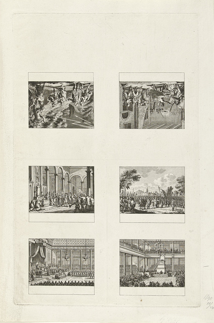 Onversneden vel met zes voorstellingen waarvan vier van historische gebeurtenissen uit 1790