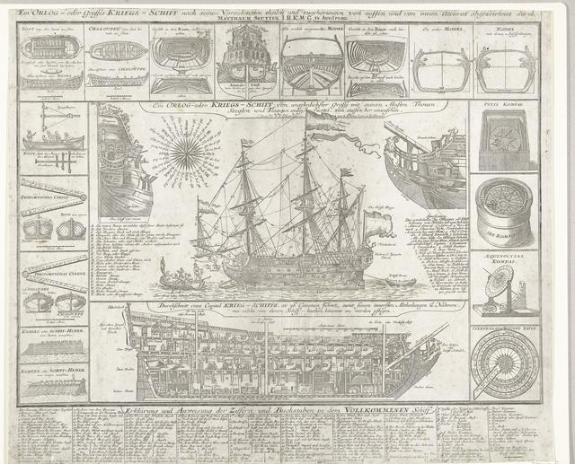 Oorlogsschip, zijaanzicht, doorsnede en details, ca. 1700