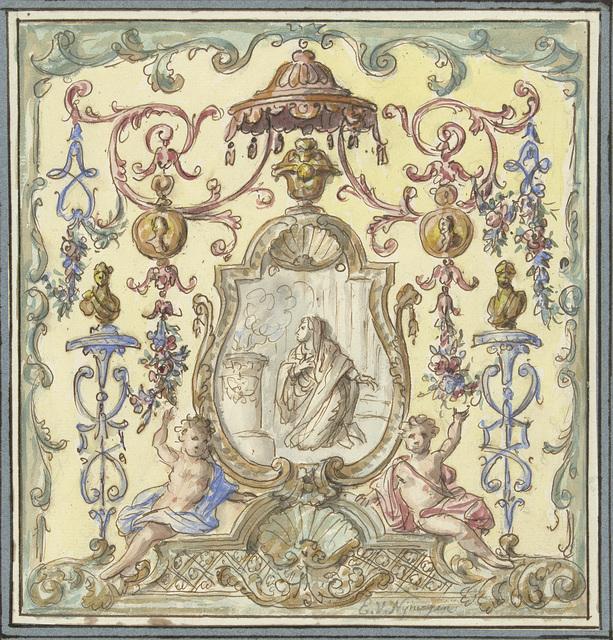 Ornament met offerende Vestaalse maagd
