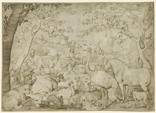 Orpheus en de dieren, in een landschap