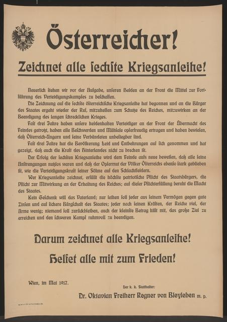 Österreicher! - Zeichnet alle sechste Kriegsanleihe! - Helfet alle mit zum Frieden