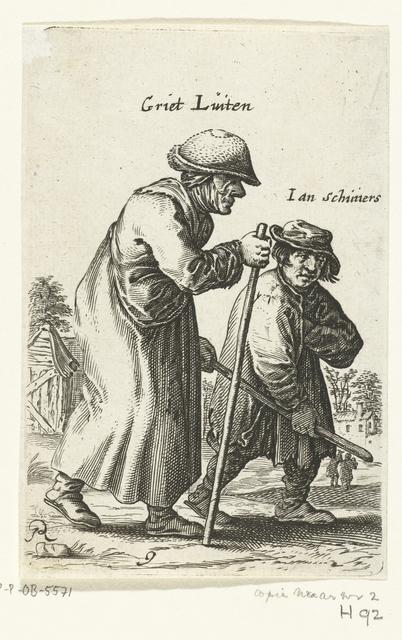Oude vrouw met stok geleid door een jongen