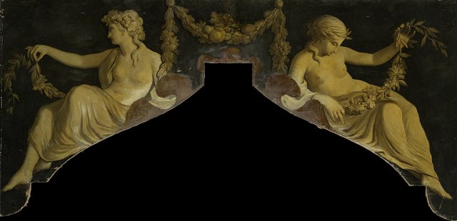 Overdoor with Representation of Two Reclining Women with Garlands